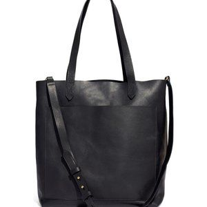 New Madewell Medium Leather Transport Tote black